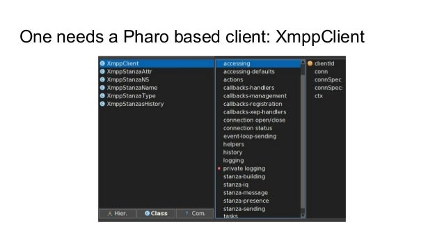 One needs a Pharo based client: XmppClient