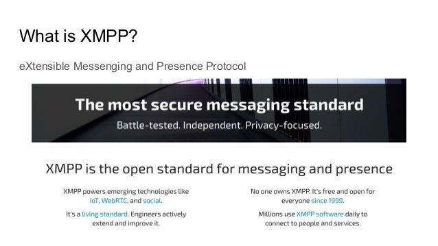 What is XMPP? eXtensible Messenging and Presence Protocol