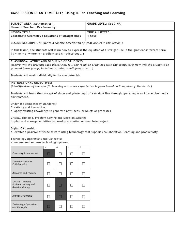 XMSS LESSON PLAN TEMPLATE: Using ICT in Teaching and Learning  SUBJECT AREA: Mathematics                                  ...