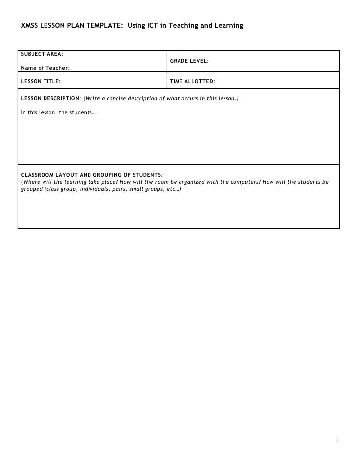 XMSS LESSON PLAN TEMPLATE: Using ICT in Teaching and Learning    SUBJECT AREA:                                            ...