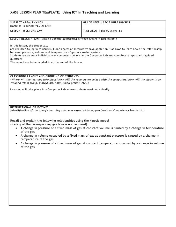 XMSS LESSON PLAN TEMPLATE: Using ICT in Teaching and Learning  SUBJECT AREA: PHYSICS                                  GRAD...