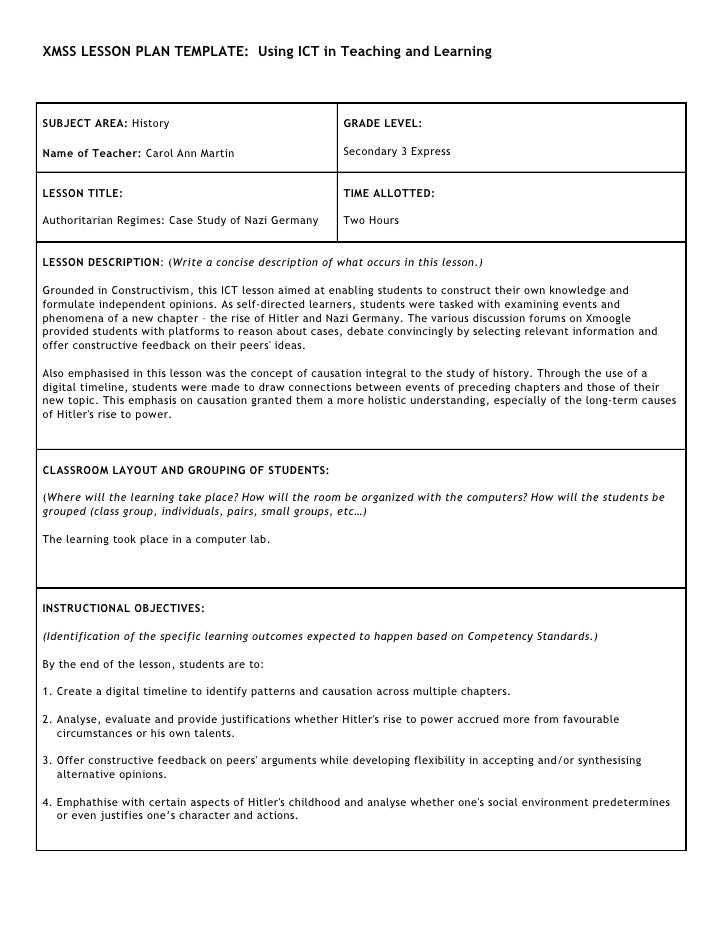 XMSS LESSON PLAN TEMPLATE: Using ICT in Teaching and Learning     SUBJECT AREA: History                                   ...