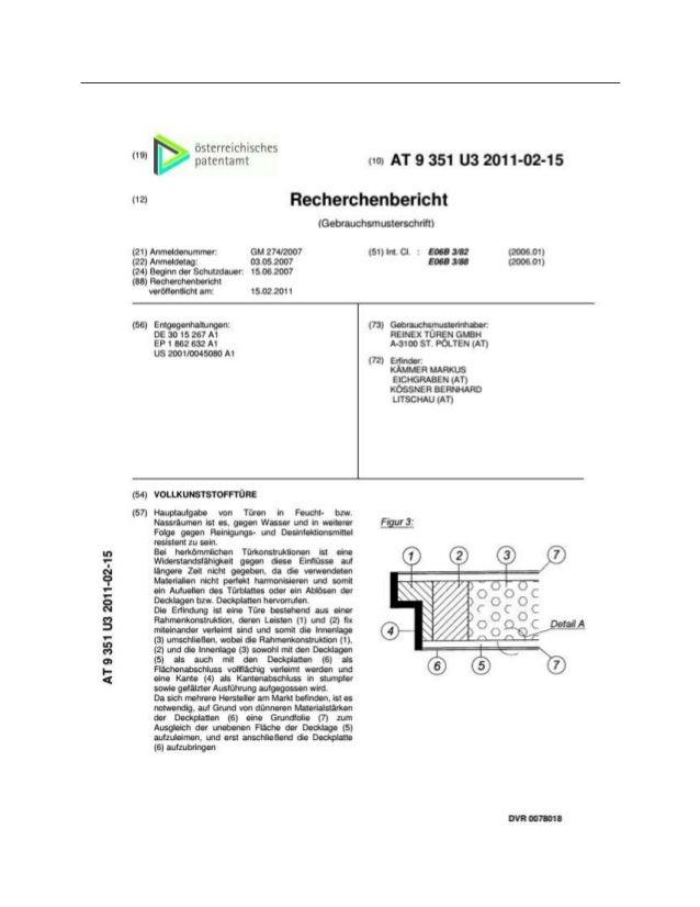 (19) (10) AT 9 351 U3 2011-02-15 (12) Recherchenbericht (Gebrauchsmusterschrift) (21) Anmeldenummer: (51) Int. Cl. : E06B ...
