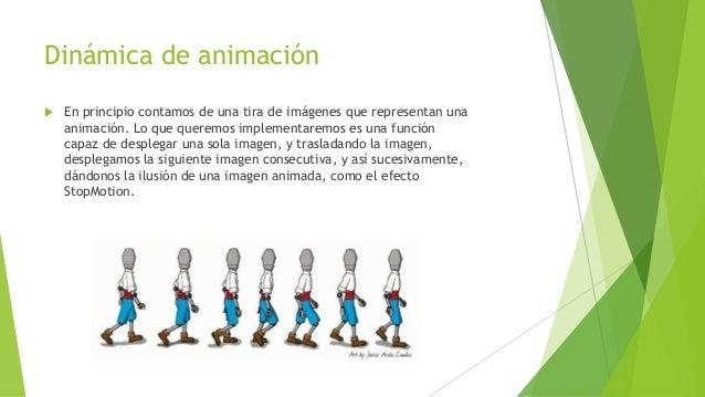 Dinámica de animación  En principio contamos de una tira de imágenes que representan una animación. Lo que queremos imple...