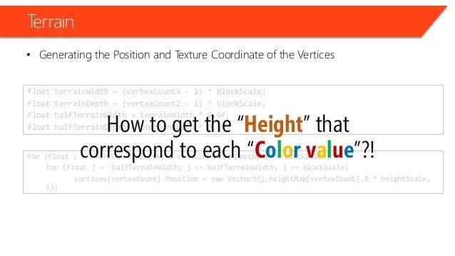 for (float i = -halfTerrainDepth; i <= halfTerrainDepth; i += blockScale) for (float j = -halfTerrainWidth; j <= halfTerra...