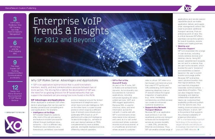 FierceTelecom Custom Publishing         3      VoIP's New    Resiliency: How                           Enterprise VoIP    ...