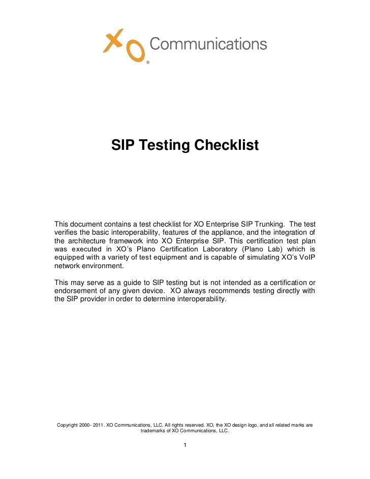 XO Enterprise-SIP-Trunking-Testing-Checklist