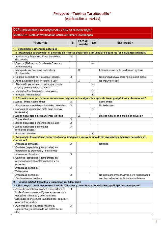 """Proyecto """"Tomina Tarabuquillo""""                                           (Aplicación a metas)CCR (Instrumento para integra..."""