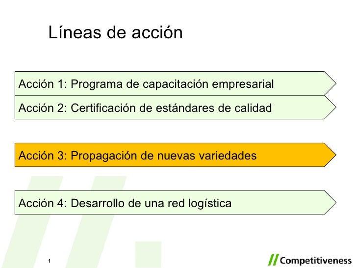 Líneas de acción Acción 4: Desarrollo de una red logística Acci ón 1: Programa de capacitación empresarial Acci ón 2: Cert...