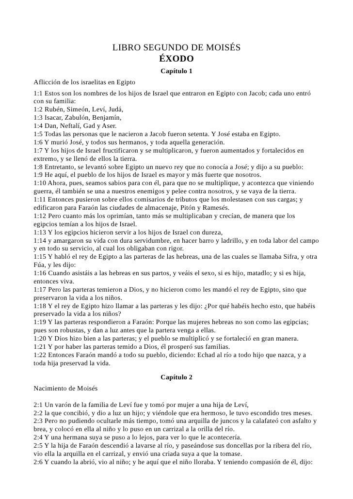 LIBRO SEGUNDO DE MOISÉS                                      ÉXODO                                              Capítulo 1...