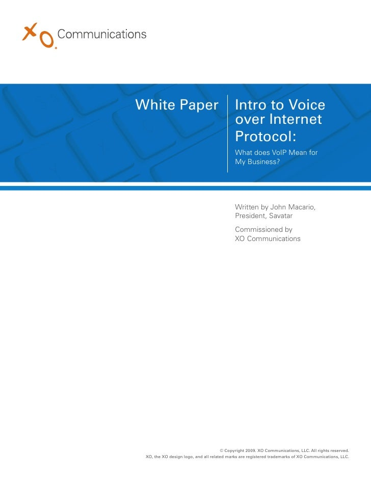 a paper on voice over ip Voice over ip (voip) telephony introduction and background one of the most popularly used communication technology in modern world is the voice over.