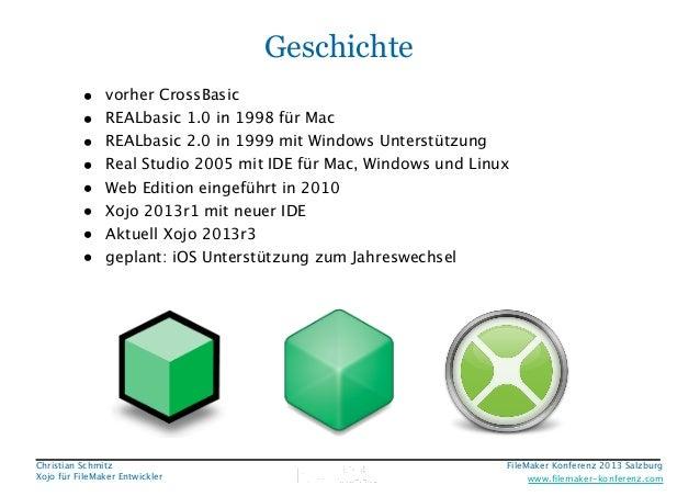 Geschichte • • • • • • • •  vorher CrossBasic REALbasic 1.0 in 1998 für Mac REALbasic 2.0 in 1999 mit Windows Unterstützun...