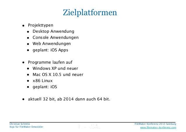 Zielplatformen • Projekttypen • Desktop Anwendung • Console Anwendungen • Web Anwendungen • geplant: iOS Apps ! • Programm...
