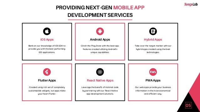 PROVIDING NEXT-GEN MOBILE APP DEVELOPMENT SERVICES iOS Apps Bank on our knowledge of iOS SDK to provide you with the best ...