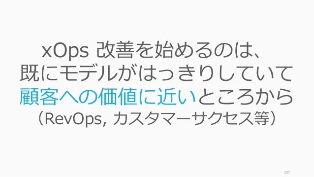 137 xOps 改善を始めるのは、 既にモデルがはっきりしていて 顧客への価値に近いところから (RevOps, カスタマーサクセス等)