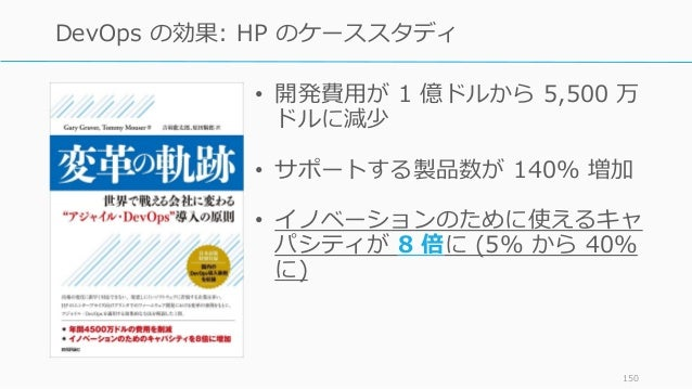 • 開発費用が 1 億ドルから 5,500 万 ドルに減少 • サポートする製品数が 140% 増加 • イノベーションのために使えるキャ パシティが 8 倍に (5% から 40% に) 150 DevOps の効果: HP のケーススタディ