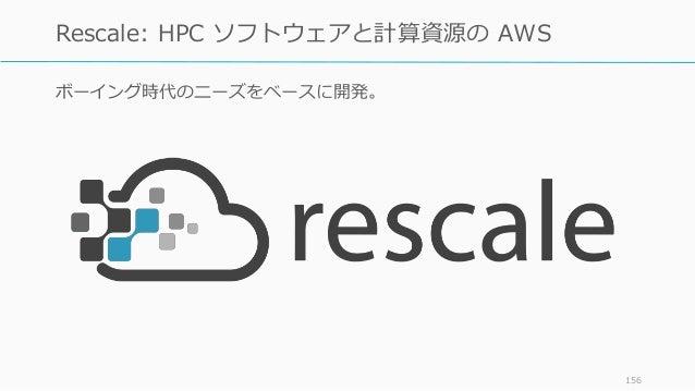 ボーイング時代のニーズをベースに開発。 156 Rescale: HPC ソフトウェアと計算資源の AWS