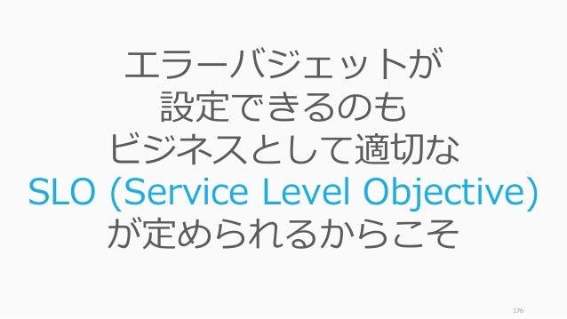 176 エラーバジェットが 設定できるのも ビジネスとして適切な SLO (Service Level Objective) が定められるからこそ