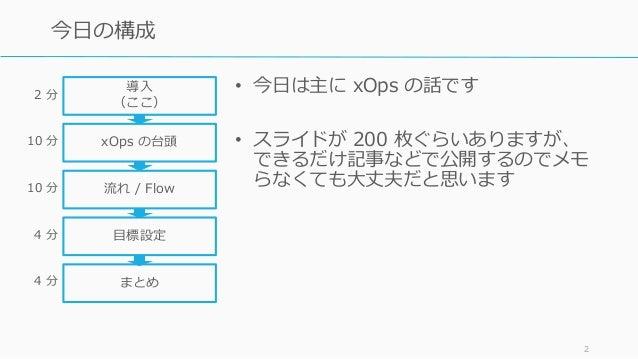 • 今日は主に xOps の話です • スライドが 200 枚ぐらいありますが、 できるだけ記事などで公開するのでメモ らなくても大丈夫だと思います 2 今日の構成 導入 (ここ) xOps の台頭 流れ / Flow 目標設定 2 分 10 ...
