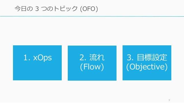 3 今日の 3 つのトピック (OFO) 1. xOps 2. 流れ (Flow) 3. 目標設定 (Objective)
