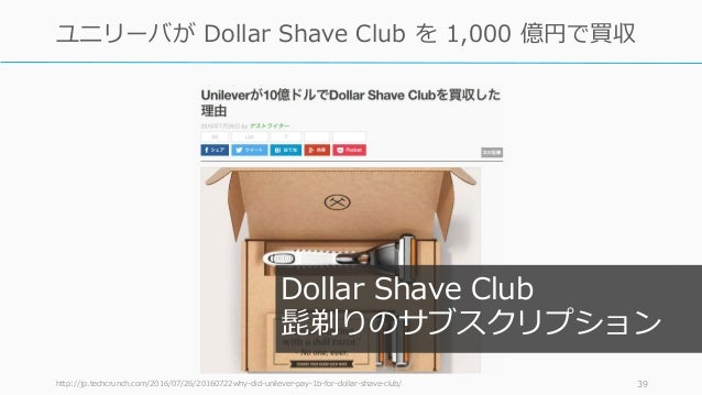 http://jp.techcrunch.com/2016/07/26/20160722why-did-unilever-pay-1b-for-dollar-shave-club/ 39 ユニリーバが Dollar Shave Club を 1...