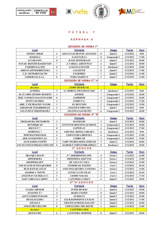 Local Visitante Campo Fecha Hora PEIXES VIMAR 4 LOS CUCAS TRANSP. AUGUSTO 0 Samil-2 2/12/2012 9:00 MASELGA 1 LA KANCILLA 0...