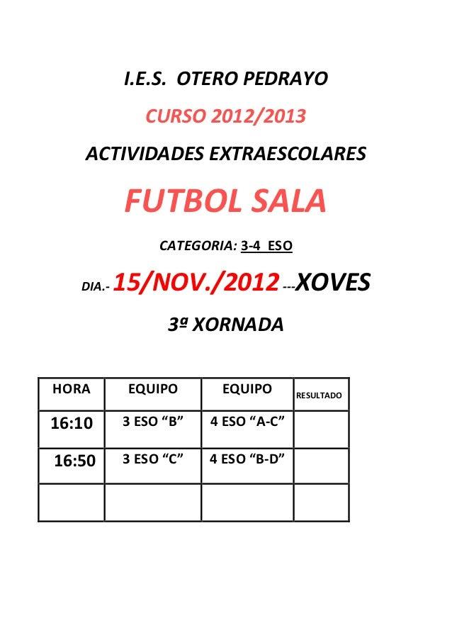 I.E.S. OTERO PEDRAYO              CURSO 2012/2013    ACTIVIDADES EXTRAESCOLARES           FUTBOL SALA                CATEG...