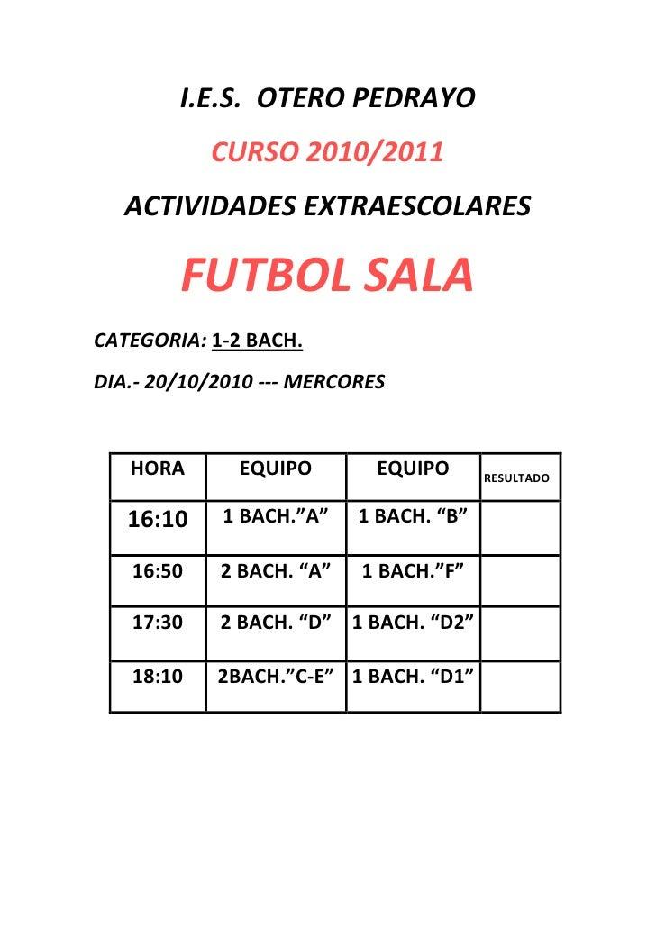 I.E.S.  OTERO PEDRAYO<br />CURSO 2010/2011<br />ACTIVIDADES EXTRAESCOLARES<br />FUTBOL SALA<br />CATEGORIA: 1-2 BACH.<br /...