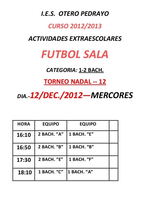 I.E.S. OTERO PEDRAYO            CURSO 2012/2013    ACTIVIDADES EXTRAESCOLARES         FUTBOL SALA           CATEGORIA: 1-2...