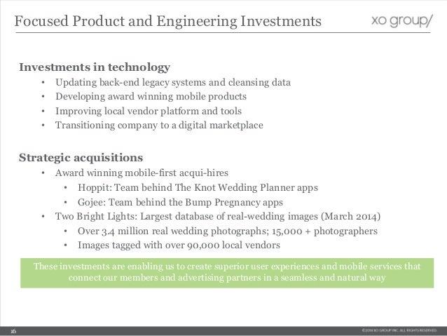 Investments in technology • Updating back-end legacy systems and cleansing data • Developing award winning mobile products...