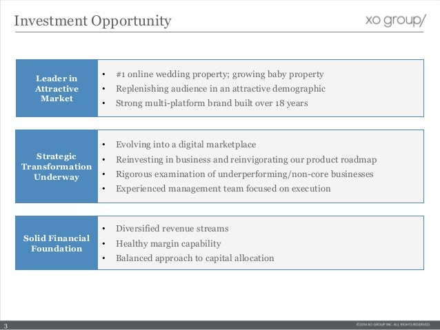 Investment Opportunity Leader in Attractive Market • #1 online wedding property; growing baby property • Replenishing audi...