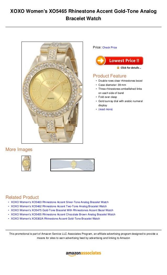 •••••XOXO Womens XO5465 Rhinestone Accent Gold-Tone AnalogBracelet WatchMore ImagesRelated ProductXOXO Womens XO5463 Rhine...