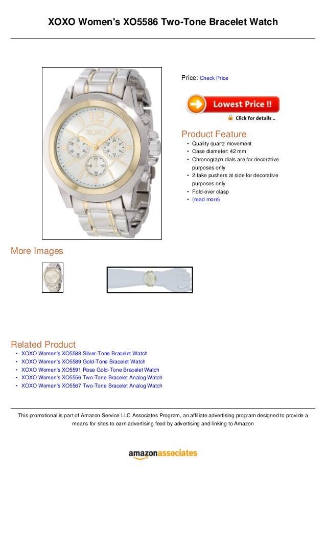 •••••XOXO Womens XO5586 Two-Tone Bracelet WatchMore ImagesRelated ProductXOXO Womens XO5588 Silver-Tone Bracelet WatchXOXO...