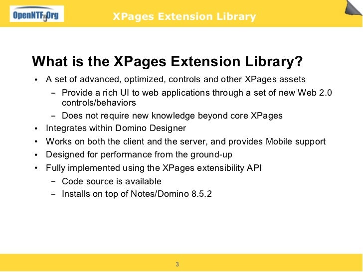XPages Extension Library   slides Slide 3