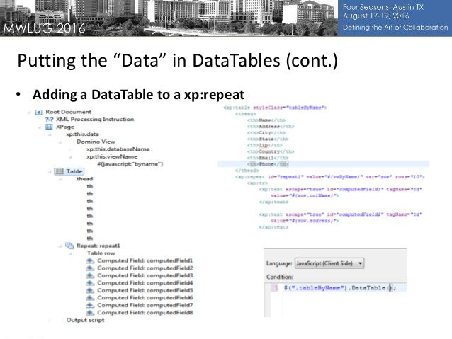 MWLUG 2016 : AD117 : Xpages & jQuery DataTables