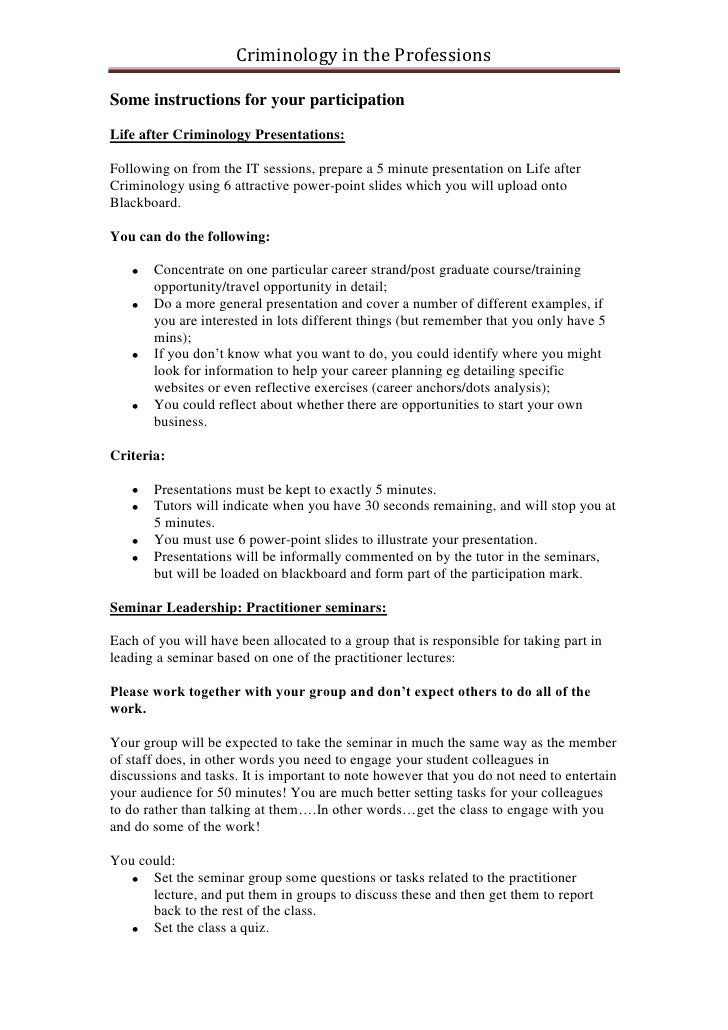 Criminology in the ProfessionsSome instructions for your participationLife after Criminology Presentations:Following on fr...