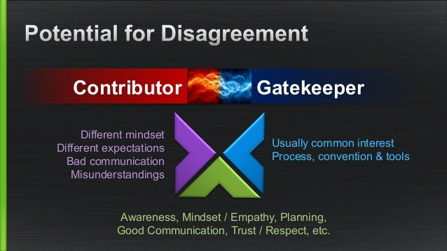 Contributor Gatekeeper  Different mindset  Different expectations  Bad communication  Misunderstandings  Usually common in...