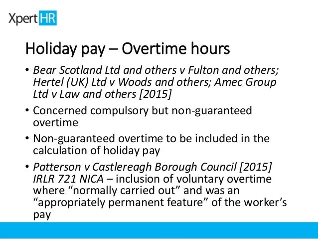 Williamsons Solicitors News Stories • Holiday pay and overtime ...