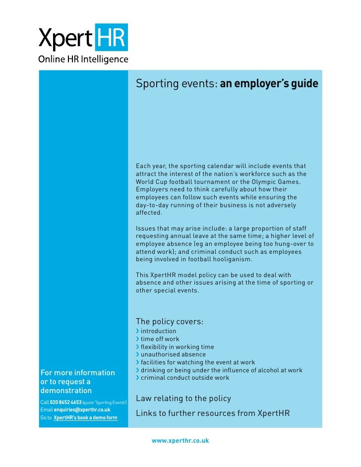 Sporting events: an employer's guide                                                    Each year, the sporting calendar w...