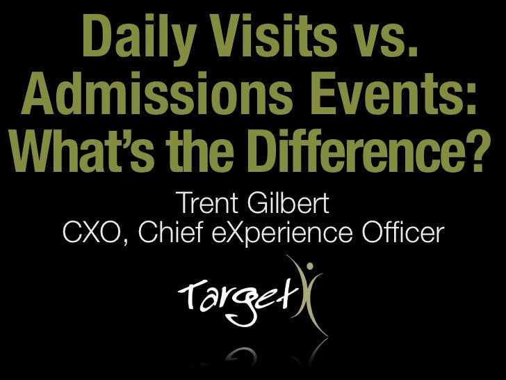 Daily Visits vs.Admissions Events:What's the Difference?         Trent Gilbert  CXO, Chief eXperience Officer