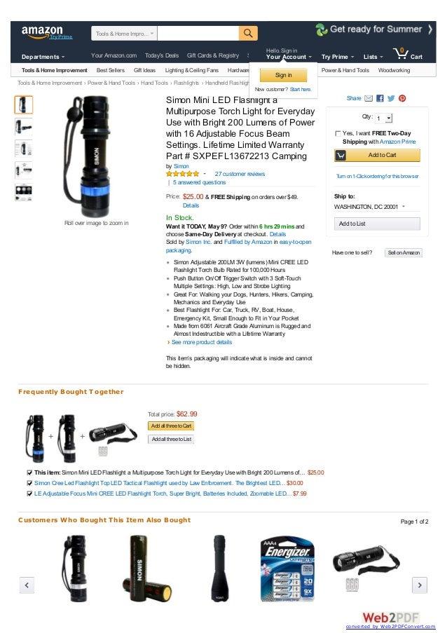 Tools &Home Improvement Power &Hand Tools Hand Tools Flashlights Handheld Flashlights + + Share Have one to sell? Simon Mi...