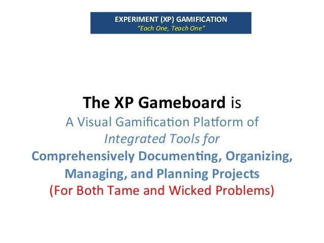 TheXPGameboardis AVisualGamifica`onPlagormof IntegratedToolsfor ComprehensivelyDocumenUng,Organizing, Mana...