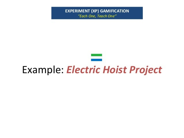 "Example:ElectricHoistProject EXPERIMENT(XP)GAMIFICATION ""EachOne,TeachOne"""