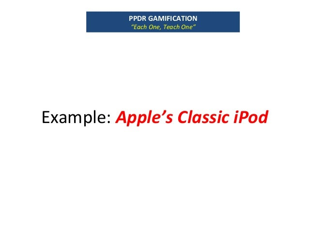 "Example:Apple'sClassiciPod PPDRGAMIFICATION ""EachOne,TeachOne"""