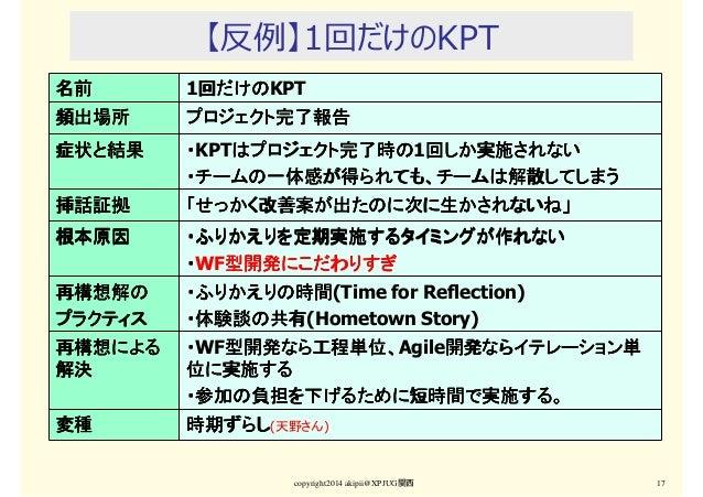 【反例】1回だけのKPT copyright2014 akipii@XPJUG関西 17 名前名前名前名前 1回だけの回だけの回だけの回だけのKPT 頻出場所頻出場所頻出場所頻出場所 プロジェクト完了報告プロジェクト完了報告プロジェクト完了報告...