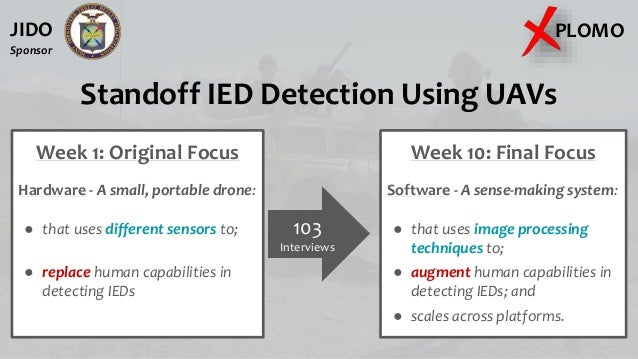 Standoff IED Detection Using UAVs Week 1: Original Focus Hardware - A small, portable drone: ● that uses different sensors...