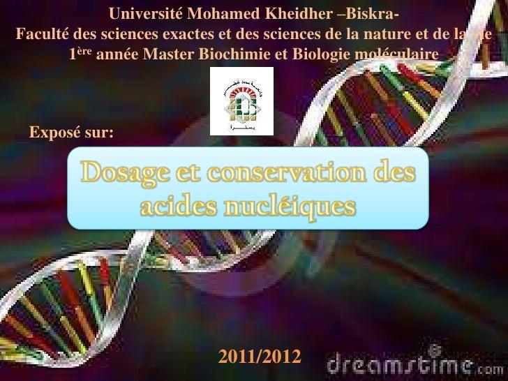 Université Mohamed Kheidher –Biskra-Faculté des sciences exactes et des sciences de la nature et de la vie       1ère anné...