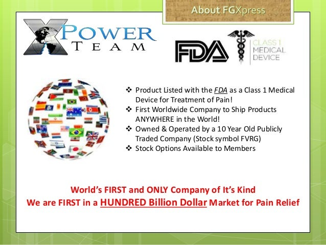  Product Listed with the FDA as a Class 1 Medical Device for Treatment of Pain!  First Worldwide Company to Ship Product...