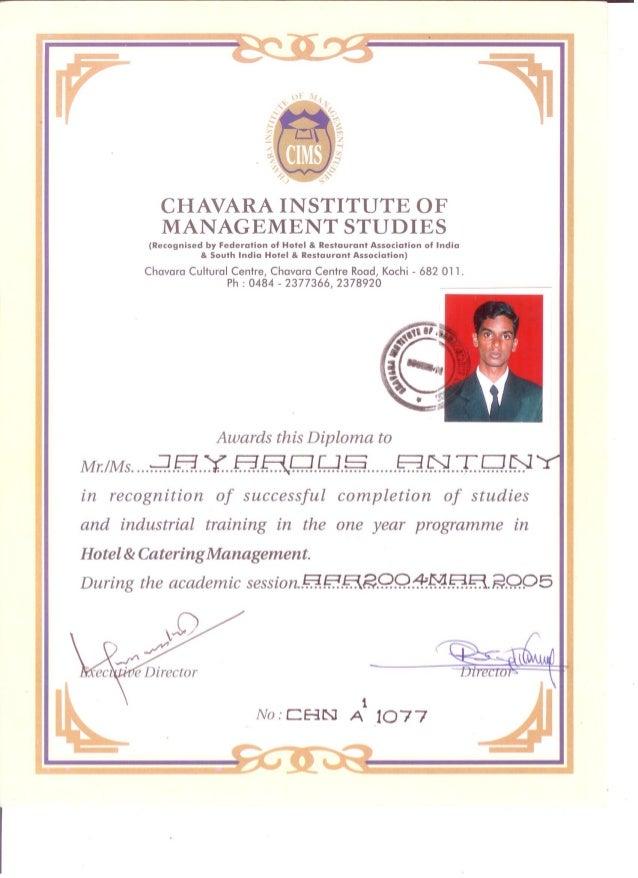 in hotel management chavar institute of management studies diploma in hotel management chavar institute of management studies