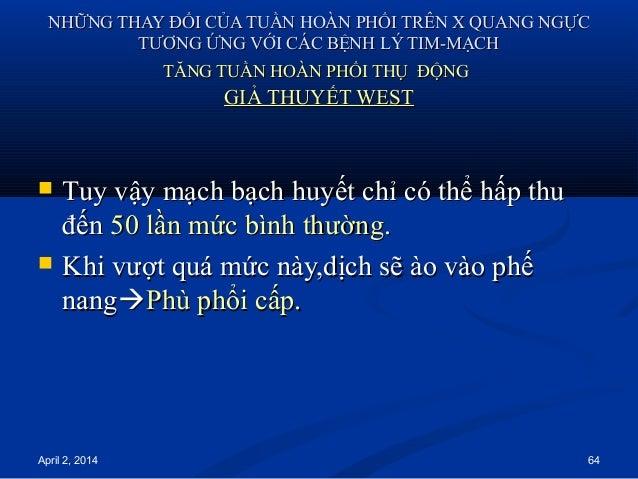 April 2, 2014 64 NHỮNG THAY ĐỔI CỦA TUẦN HOÀN PHỔI TRÊN X QUANG NGỰCNHỮNG THAY ĐỔI CỦA TUẦN HOÀN PHỔI TRÊN X QUANG NGỰC TT...